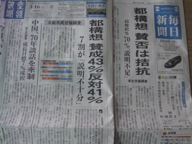 明日、大阪府議会で採決