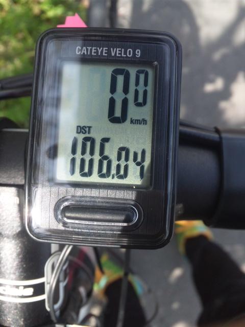残念ながら、リタイヤ!106.04km<br />  でタイヤがバースト!