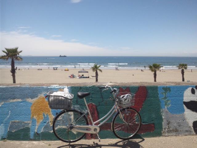 今、サーフィンの聖地・磯ノ浦です!岬町のサイクリングマッブの一番長いコースをママチャリで走ってます!