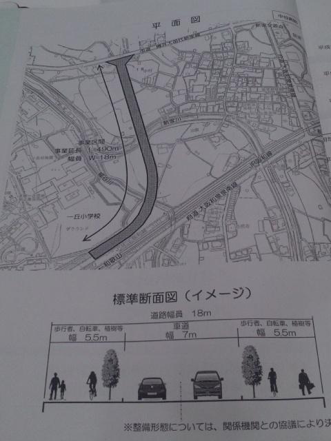 さきほどの一丘団地の横に、道路新設は、砂川樫井線という名前