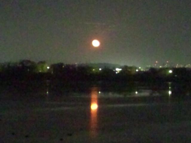 スゴく大きな月だ!湖に映る月もキレイで