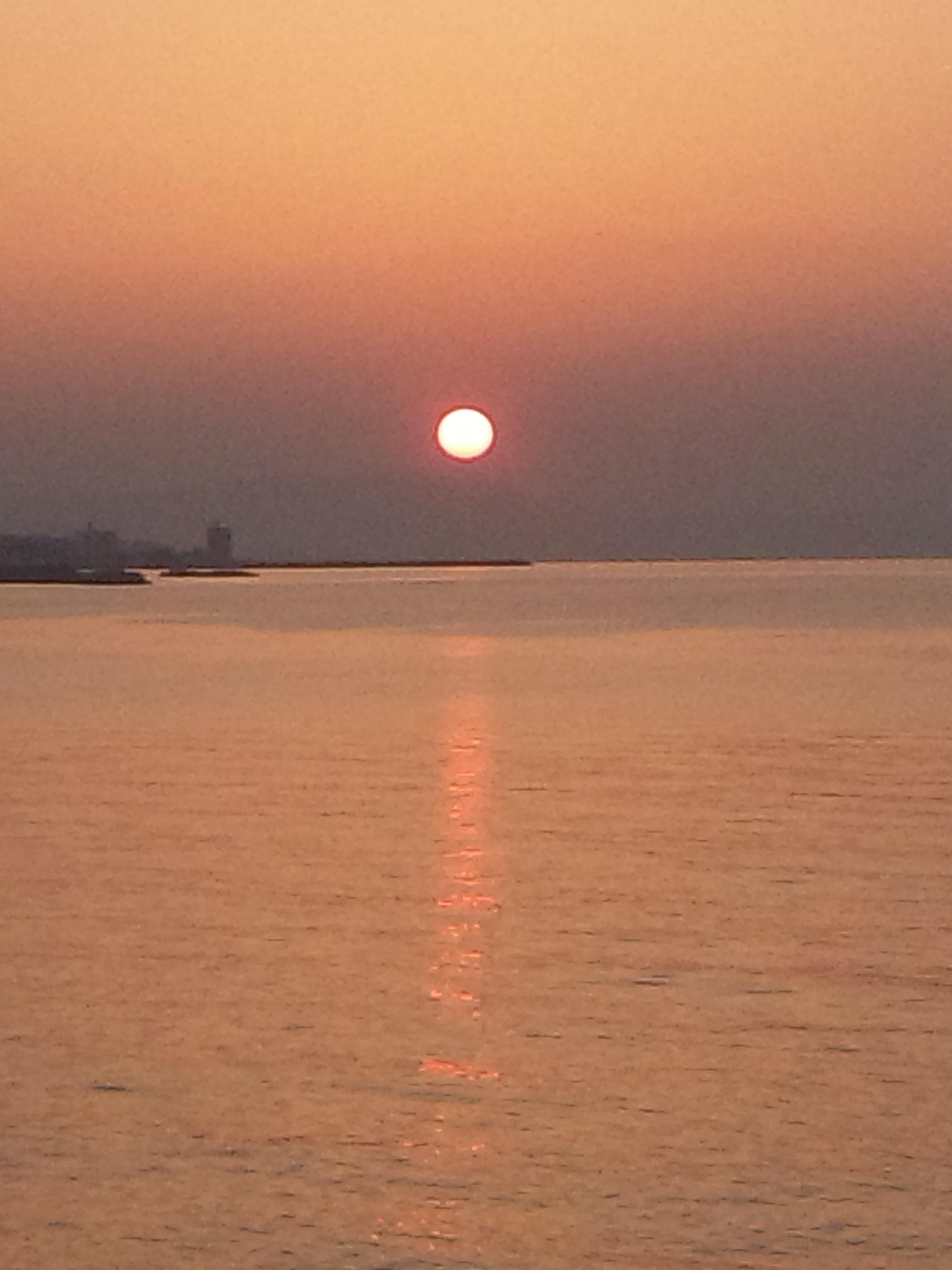 大きな夕日を見つけたので、とりあえず海へ 明日の報告会の準備が終わっていない