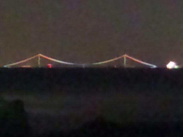 下の娘とウミホタルの観察 海の向こうに、明石大橋の灯り